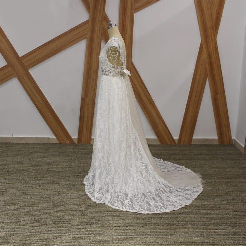 Romantic Boho Vintage Beaded Lace Beach Backless V Neck Floor Length Wedding Dress