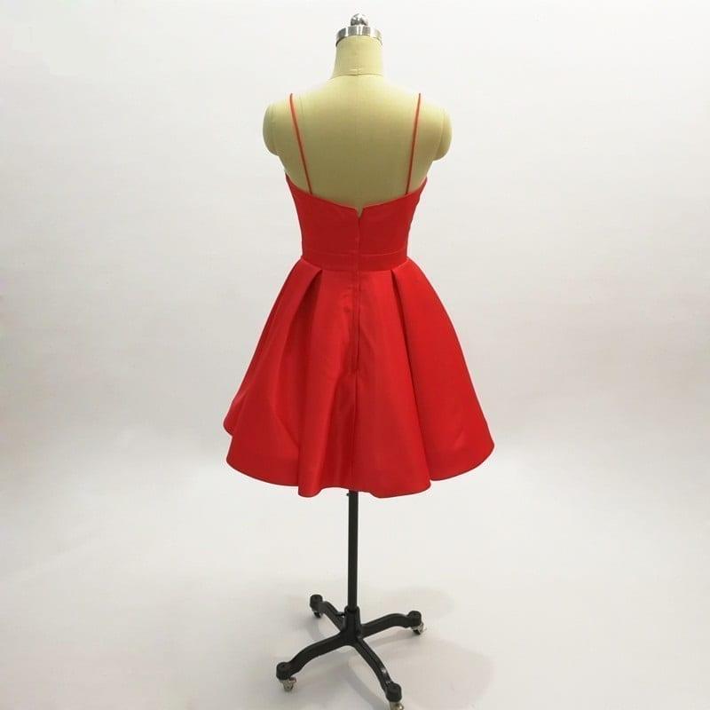 Little Red Satin Spaghetti Strap Short Cocktail Dress