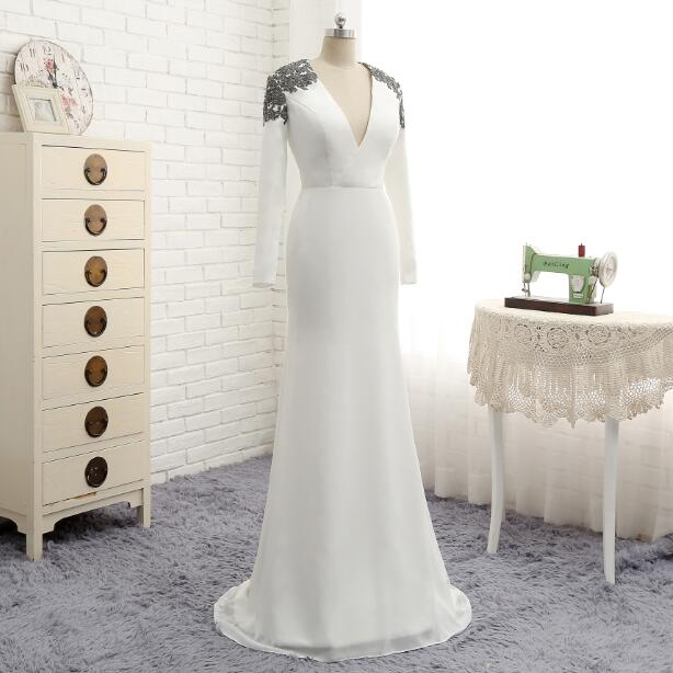 Long White Mermaid Chiffon With Lace Mother Of The Bride Dress