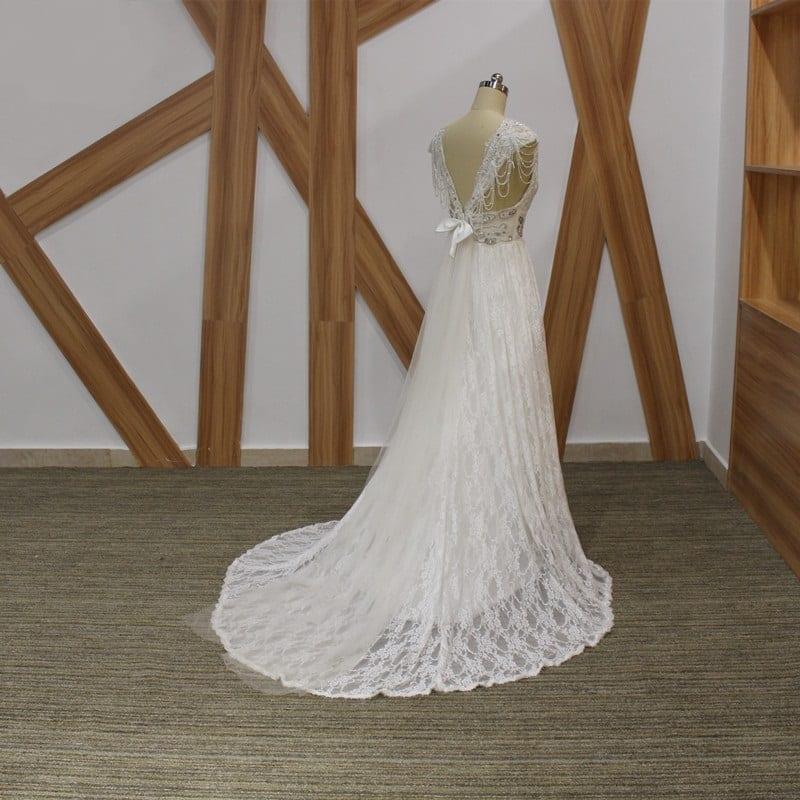 Backless Beach Wedding Dresses V Neck Flowing Vintage Boho: Romantic Boho Vintage Beaded Lace Beach Backless V Neck