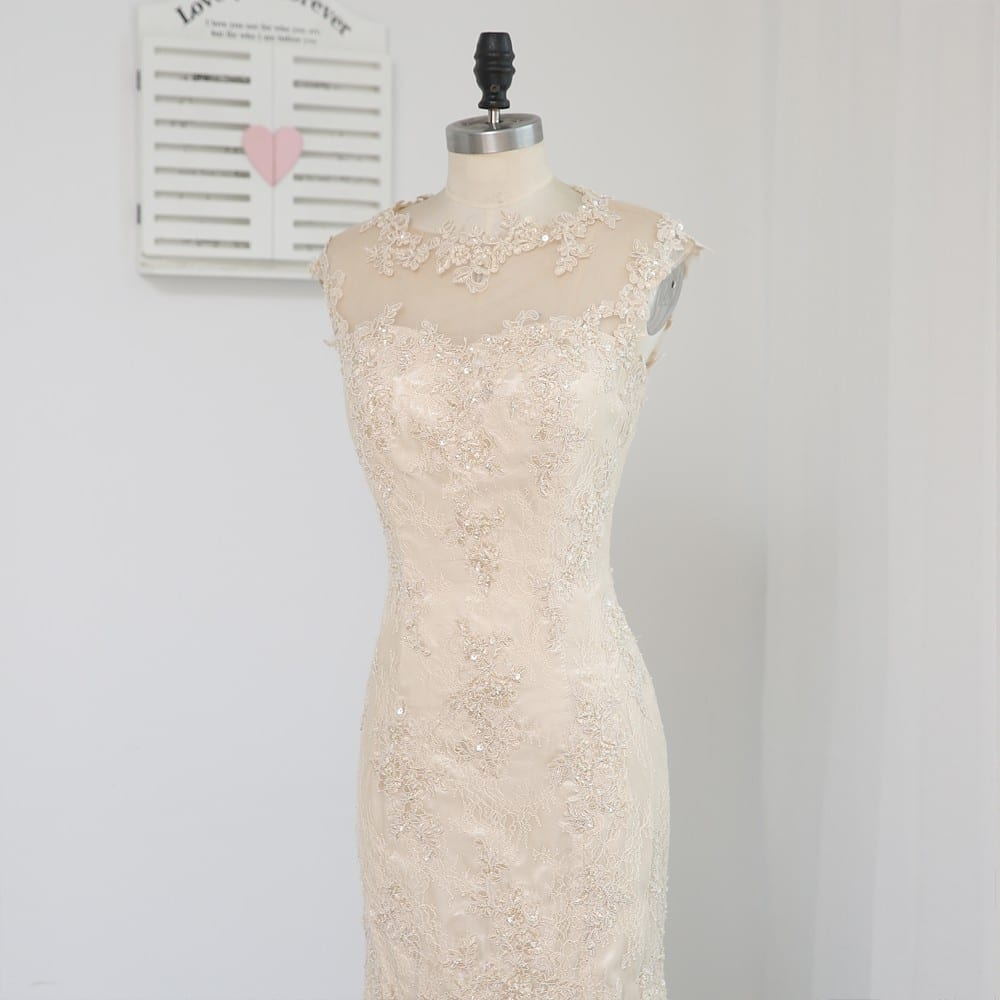 Champagne Sheath Knee Length Lace Open Back Beaded Mother Of The Bride Dress