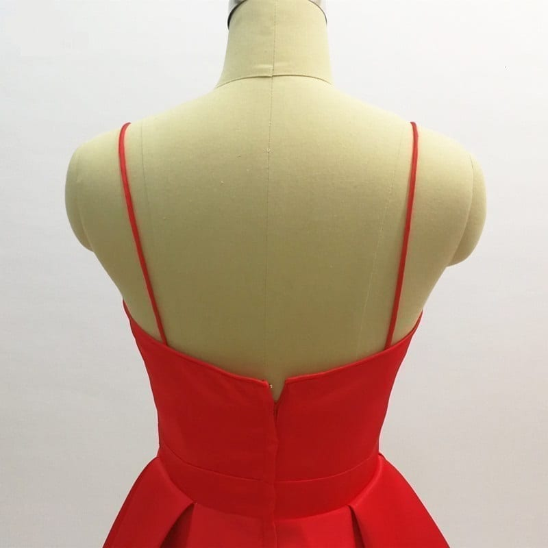 Little Red Satin Spaghetti Strap Short Cocktail Dress