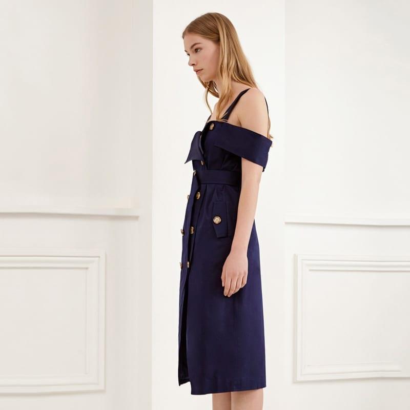 Backless Cold Shoulder V-neck Button Down Sashes Wrap Dress