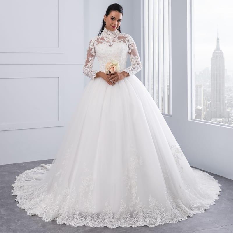 High Neck Iiiusion Back Long Sleeve Lace Ball Wedding Dress