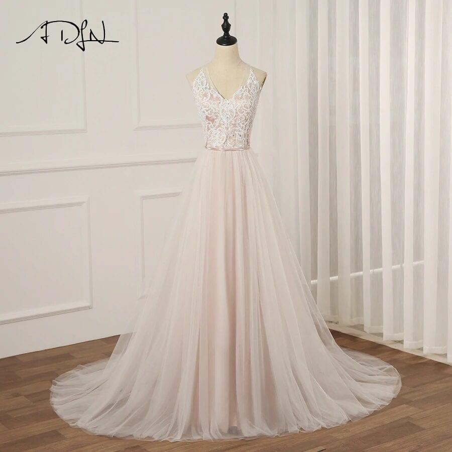 Halter Sleeveless A-line Tulle Wedding Dress