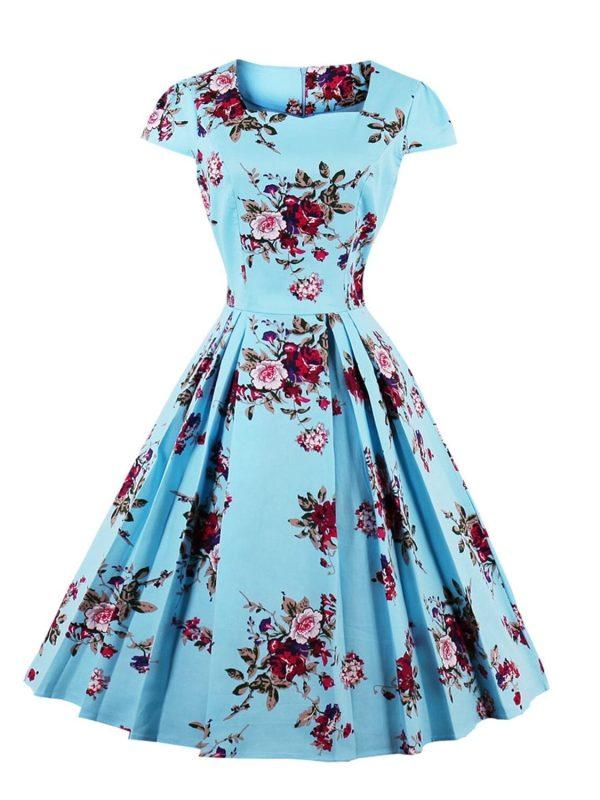 Retro Vintage Floral Print A-line Dress