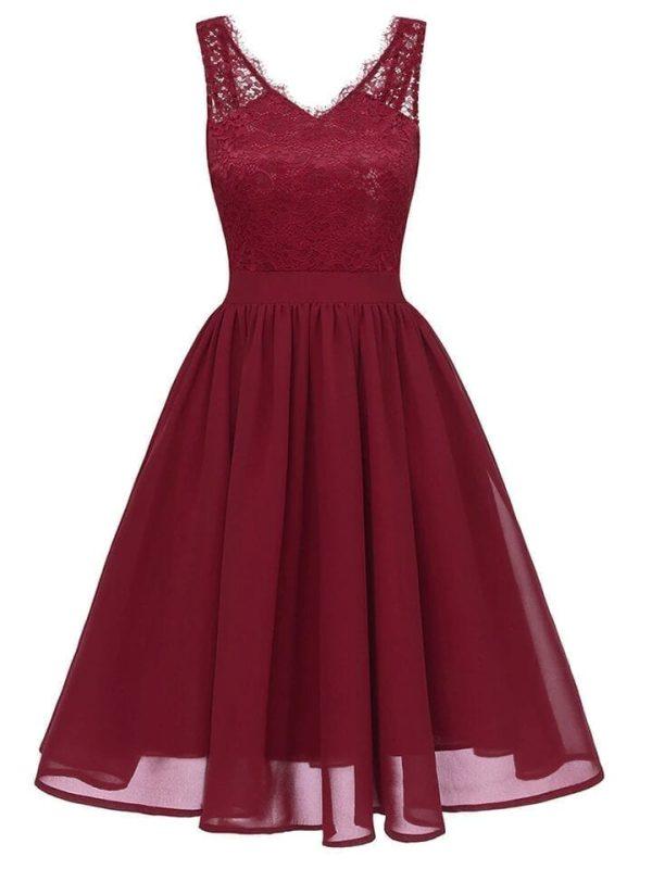 Burgundy V Neck Sleeveless Lace Special Occasion Dress