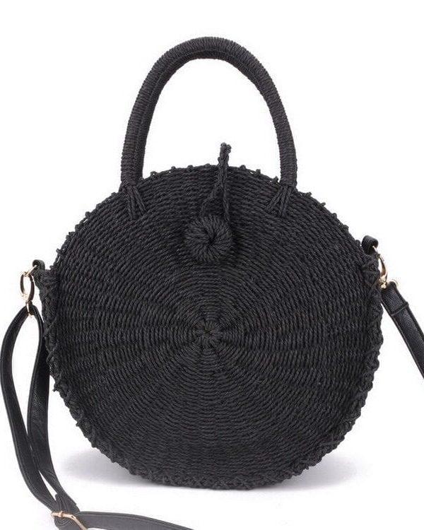 Round Rattan Straw Beach Shoulder Bag