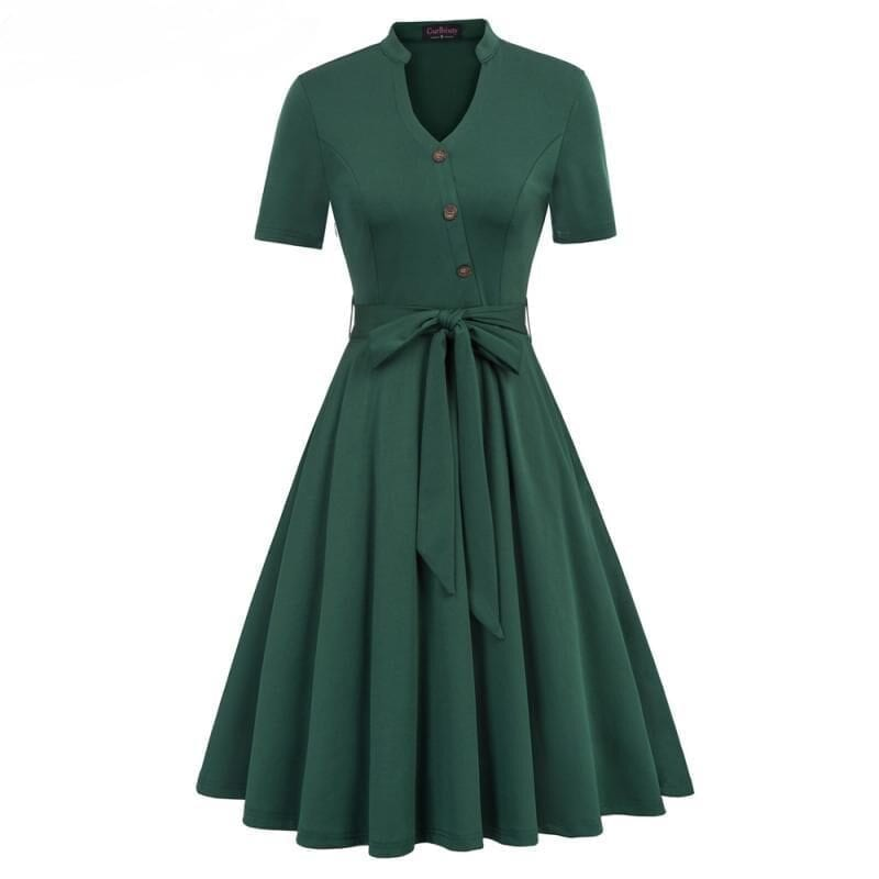 Vintage Short Sleeve Pocket Green Dress