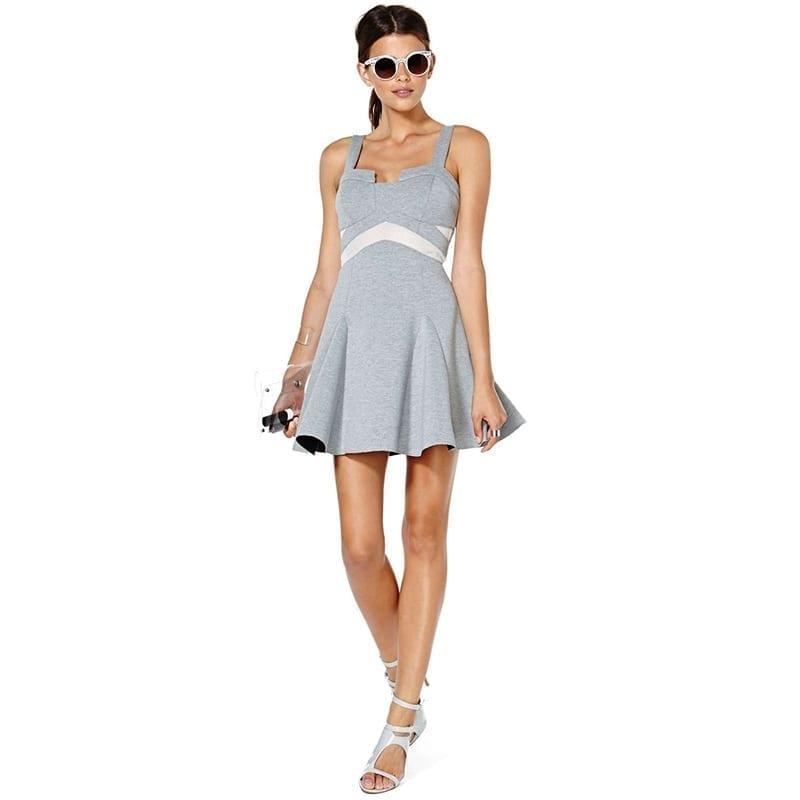 Elegant Spaghetti Strap A-line Patchwork Dress