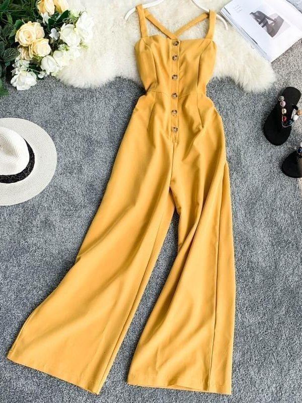 Button Cross Back Elegant Jumpsuit Romper