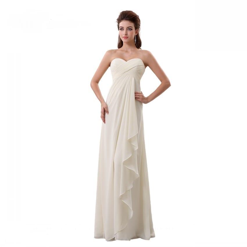 Pleat Chiffon Sweetheart Off Shoulder Beach Wedding Dress