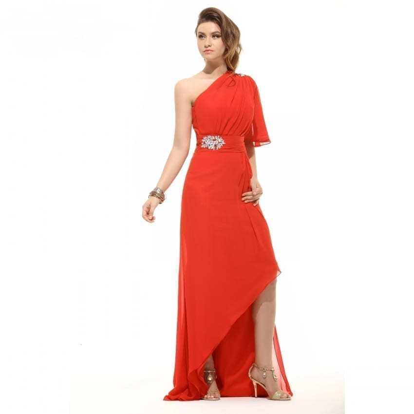 Red One Shoulder Chiffon Floor Length Prom Dress