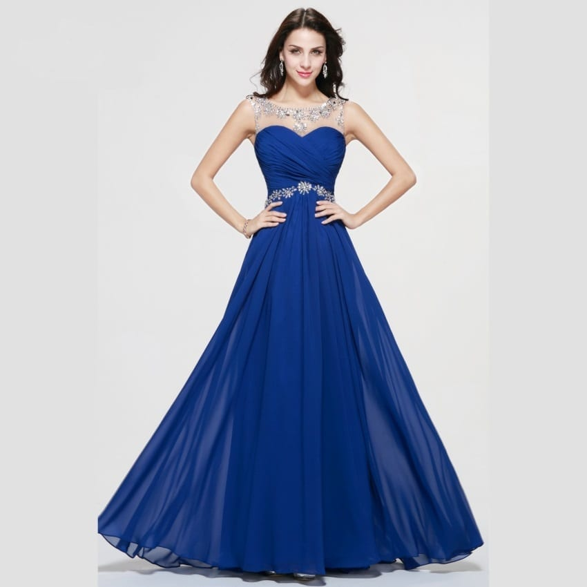 Royal Blue Sheer Neck Chiffon Crystal Beaded Long Prom Dress