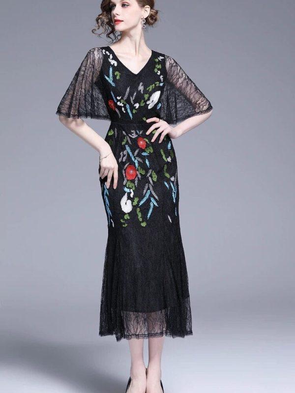 V-neck Floral Embroidered Lace Dress