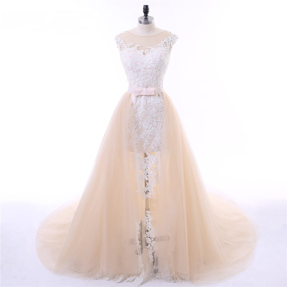 Champagne Cap Sleeves Tulle Applique Lace Detachable Train Mermaid Wedding Dress