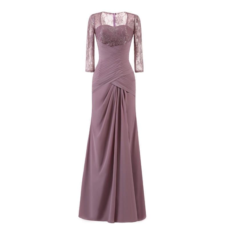 Elegant Lace Pleat Lavender Purple Vintage Long Evening Bridesmaid ...