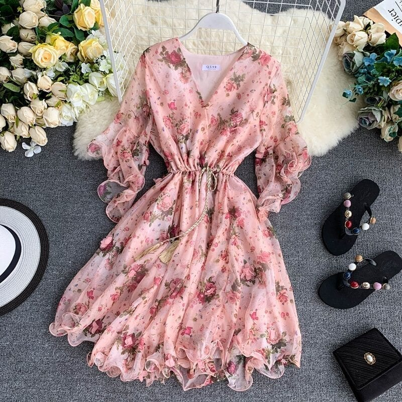 Flare Sleeve Printed Pink Beach Dress