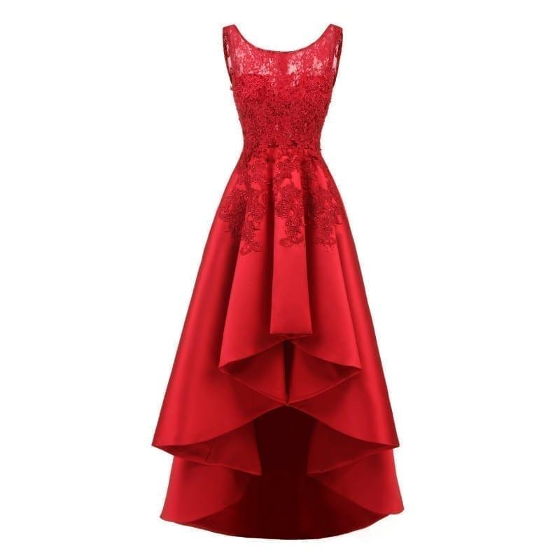 Asymmetrical Satin Lace Appliques Crystal Bridesmaid Dress