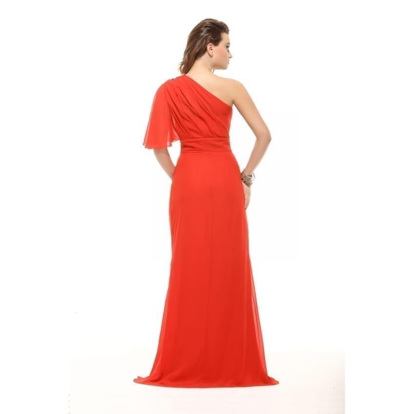 Red One Shoulder Chiffon Floor Length Prom Dress