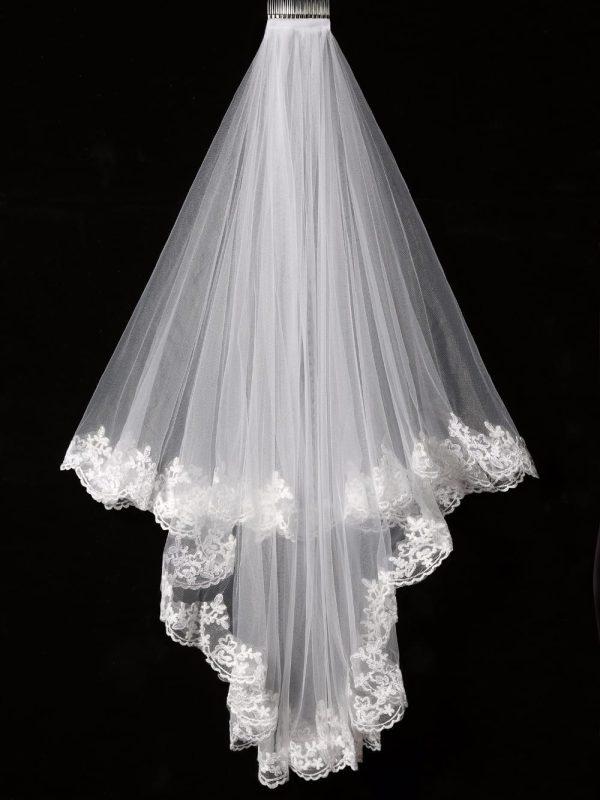 Elegant White/ivory Two Layers Lace Edge Tulle Veil