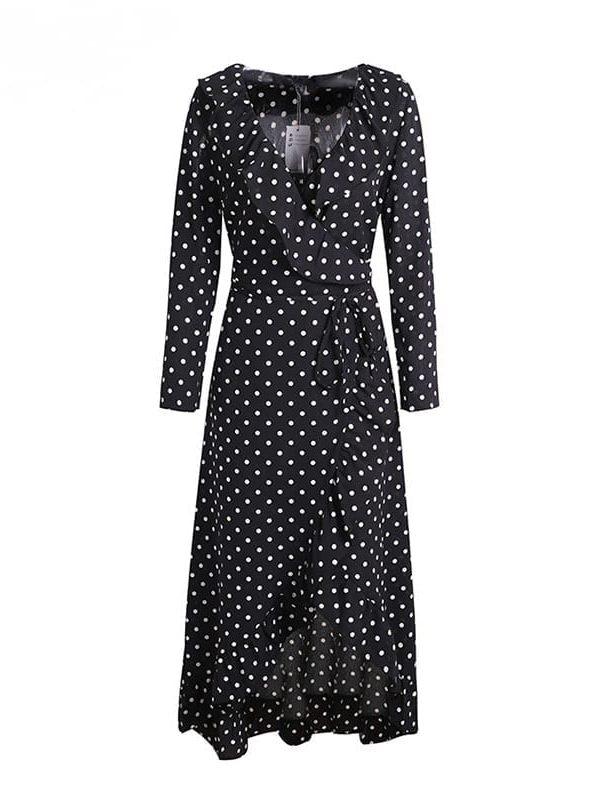 Black Polka Dot Split Long Sleeve Ruffle Wrap Long Dress