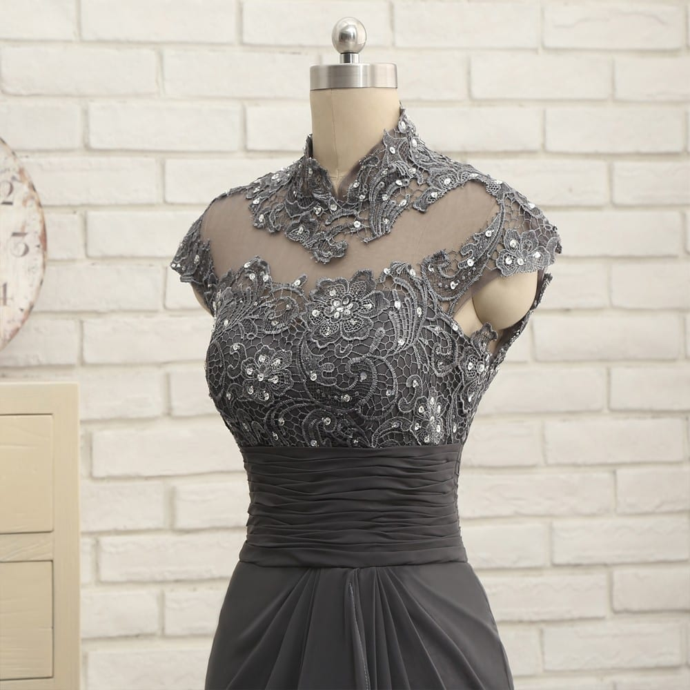 Gray Cap Sleeves Lace Beaded Open Back Long Mermaid Mother