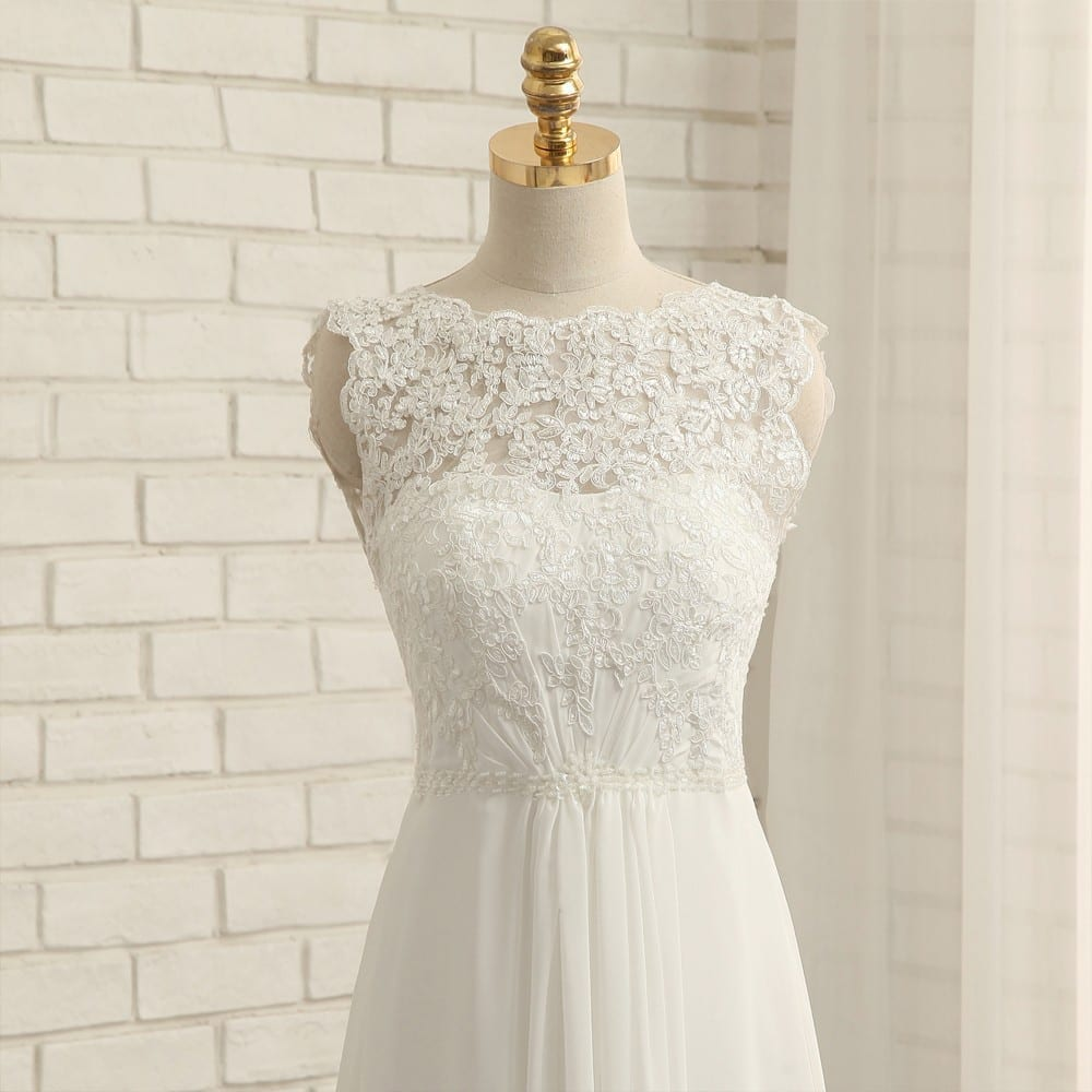 A-line Cap Sleeves Chiffon Lace Vintage Beach Wedding Dress