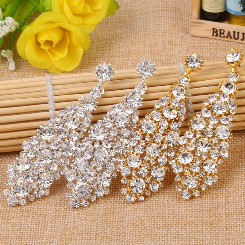 Silver Shining Clear Teardrop Wedding Earrings Jewelry