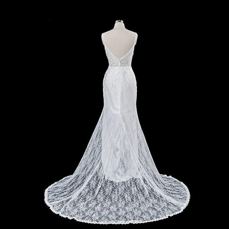 Elegant V Neck Backless Court Train Wedding Dress