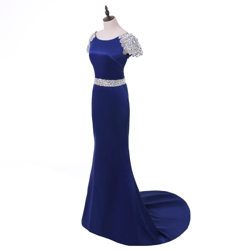 Royal Blue Mermaid Cap Sleeves Crystals Backless Long Evening Dress