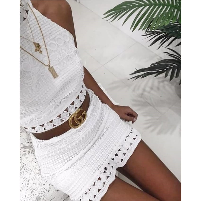 Elegant Sleeveless Hollow Out Lace Mini White Dress