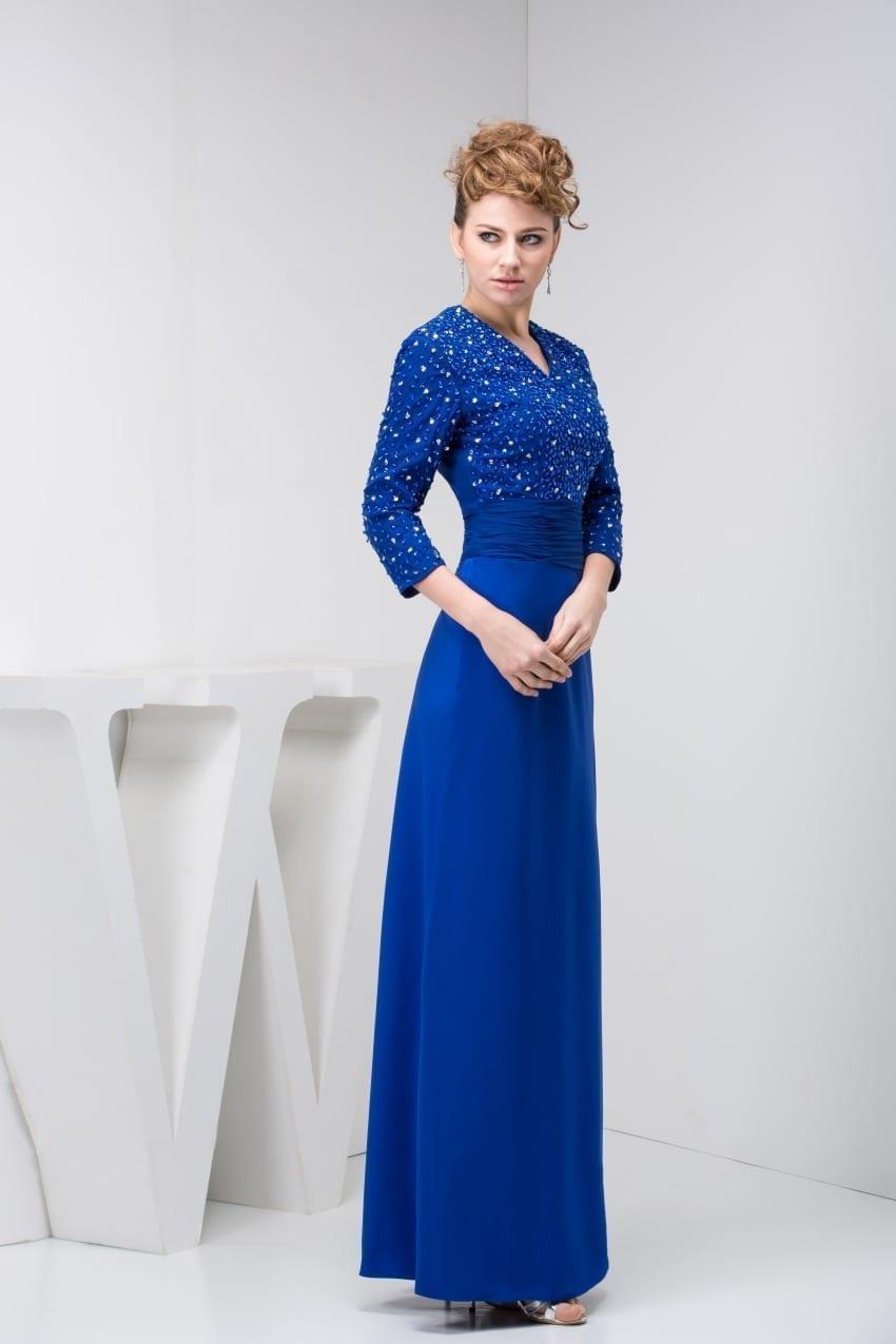 Elegant Blue Three Quarter Sleeve Mother Of The Bride Dress