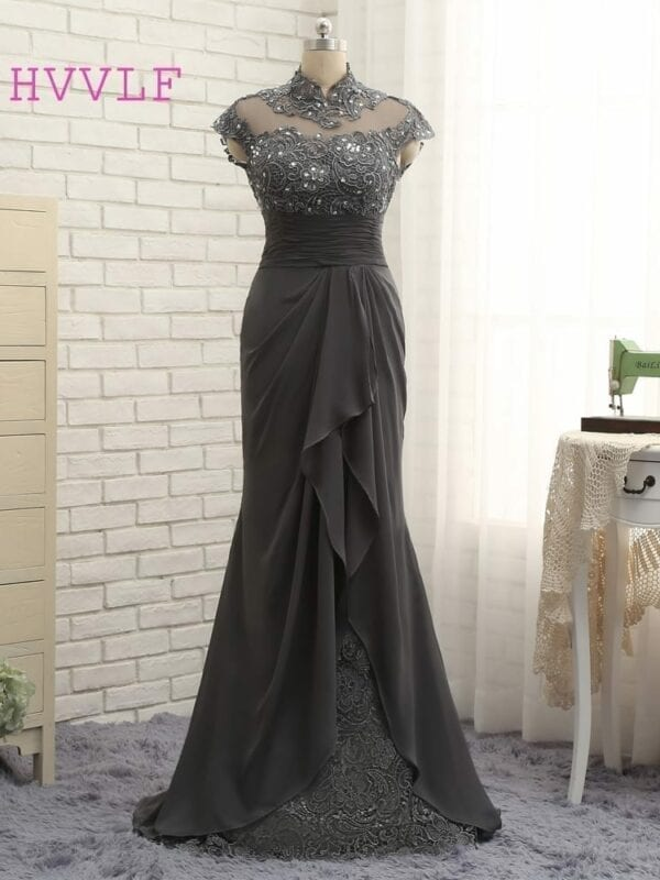 Gray Cap Sleeves Lace Beaded Open Back Long Mermaid Mother Of The Bride Dress