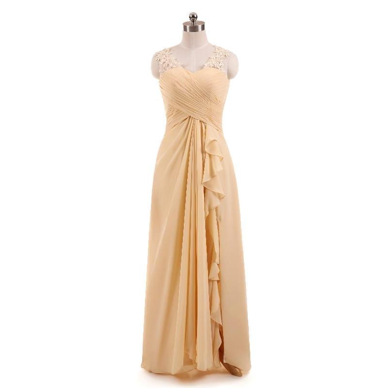 Beige Pleat Lace Floor-length Bridesmaid Dress