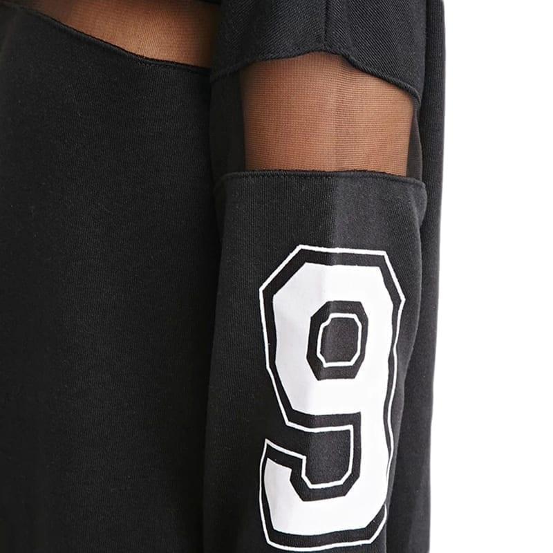 Black Long Sleeve Letter Mesh Sheer Dress