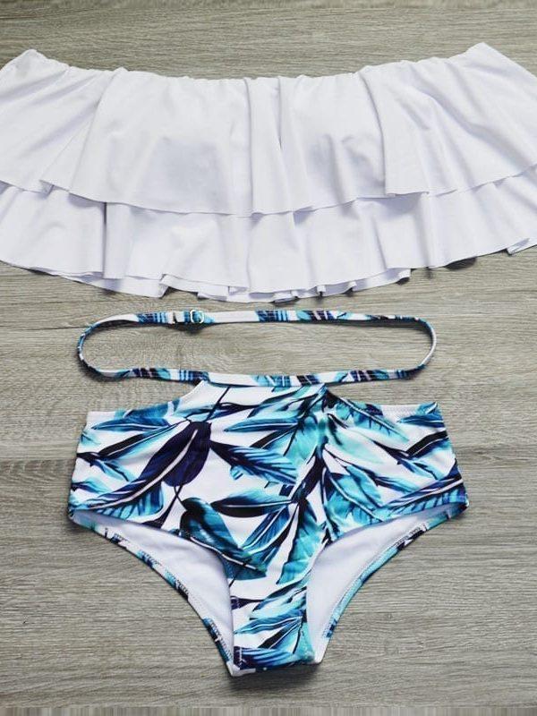 High Waist Ruffle Vintage Bandeau Bikini Set