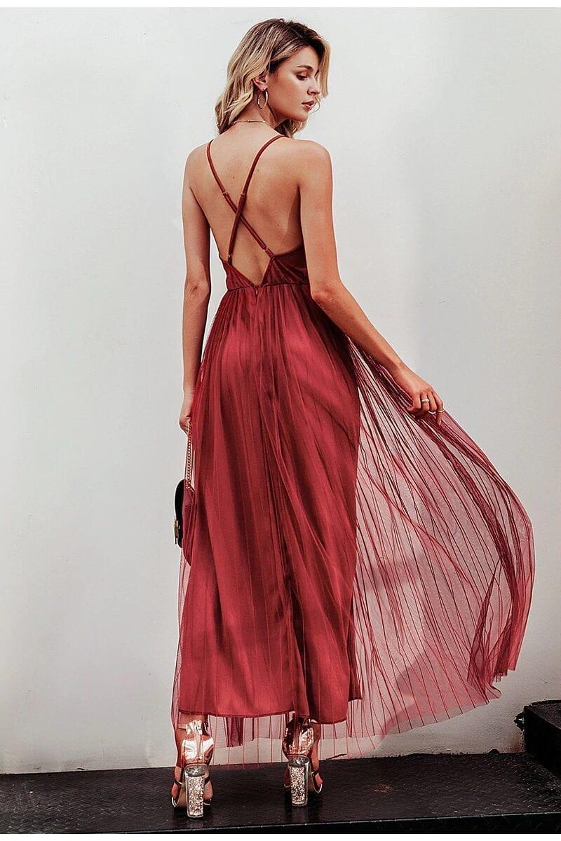 Pink Wine Navy Mesh Lace V Neck Sleeveless Maxi Dress