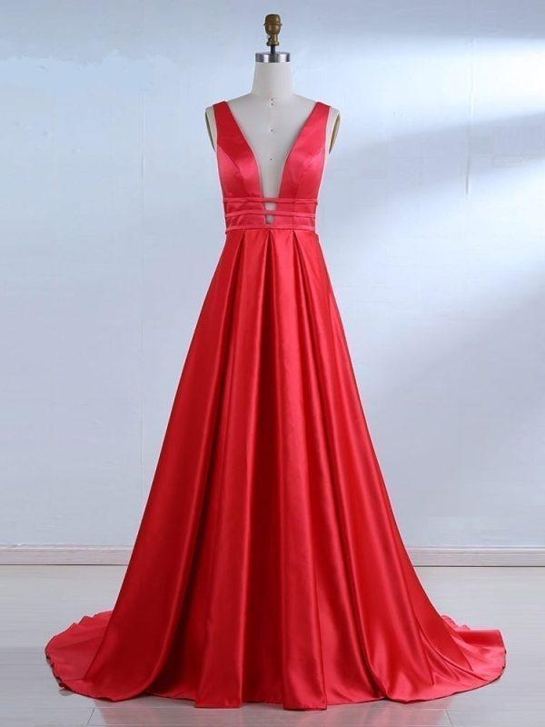 Elegant Red Satin Long Evening Dress