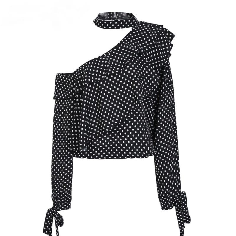 Vintage One Shoulder Polka Dot Ruffle Lantern Sleeve Chiffon Blouse Shirt