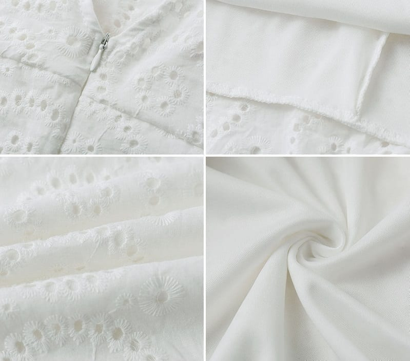 Embroidery Cotton Ruffle Sleeve High Waist White Dress