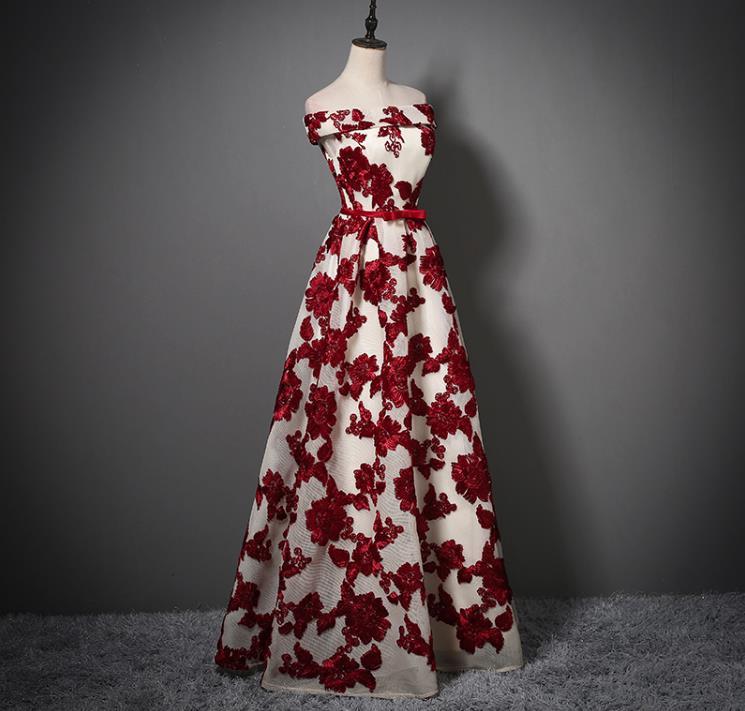 Elegant Sashes Bow Sleeveless A Line Flowers Boat Neck Long Evening Dress