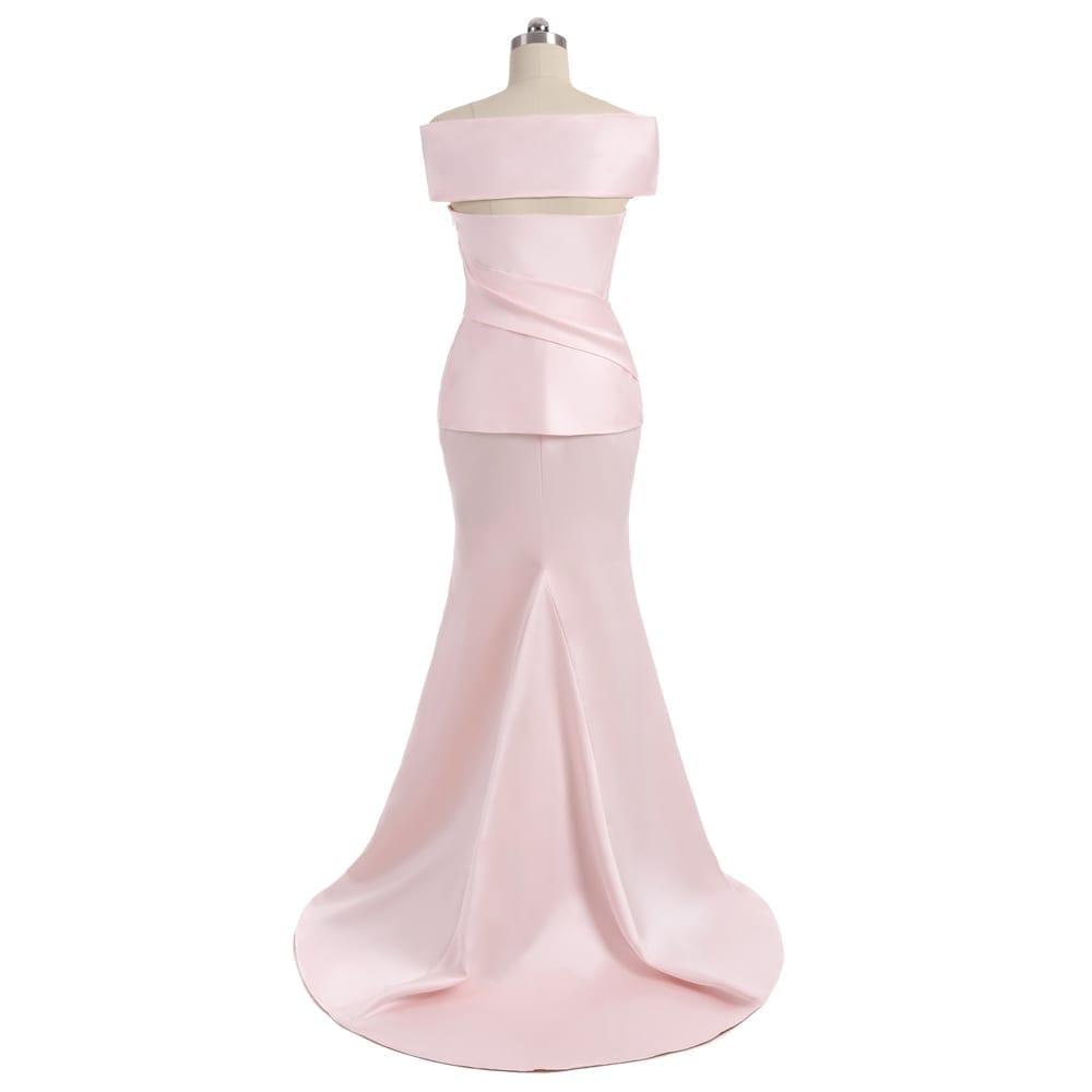 Pink Cap Sleeves Satin Beaded Slit Mermaid Mother Of The Bride Dress