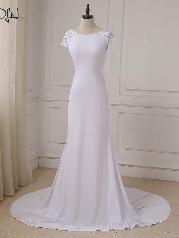 Scoop Neck Open Back Court Train Long White Mermaid Beach Boho Wedding Dress