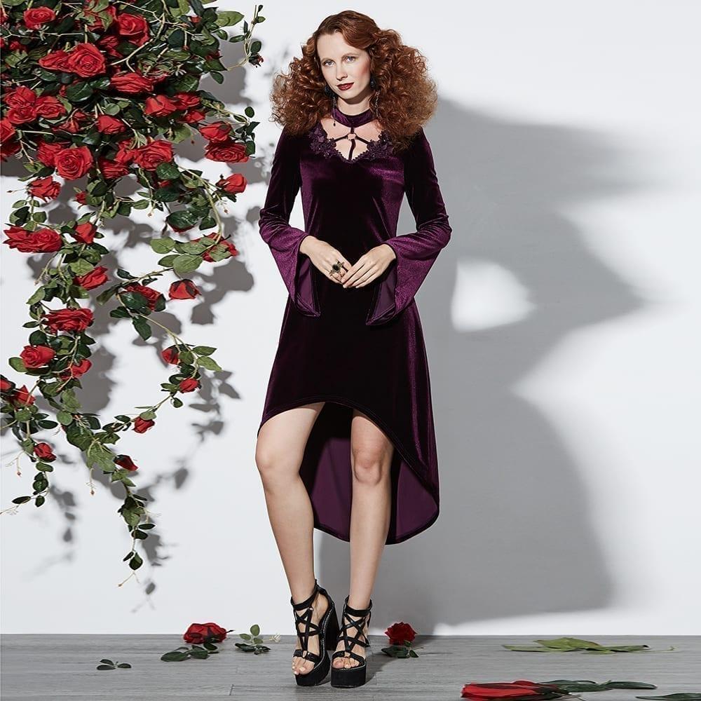 Vintage Velvet Appliques Flare Sleeve Gothic Asymmetrical Dress