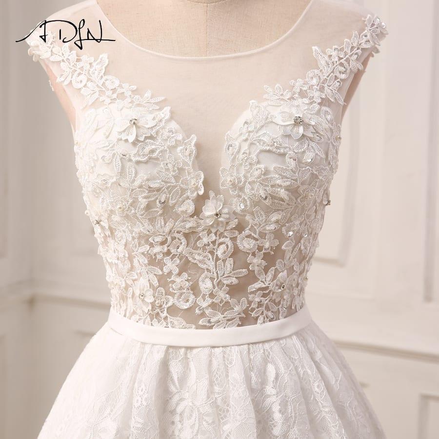 Ivory Cap Sleeve Applique Beaded Lace Hi-lo Wedding Dress