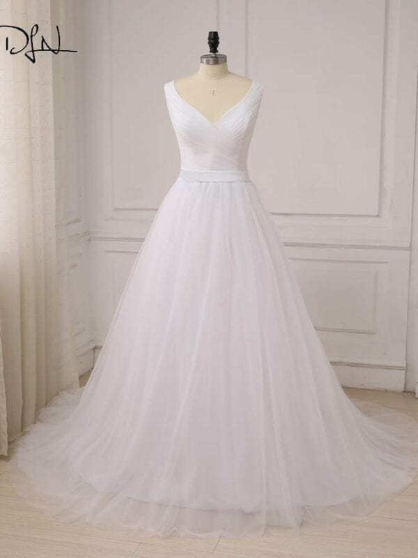 V-neck Sleeveless Pleats Tulle A-line Wedding Dress