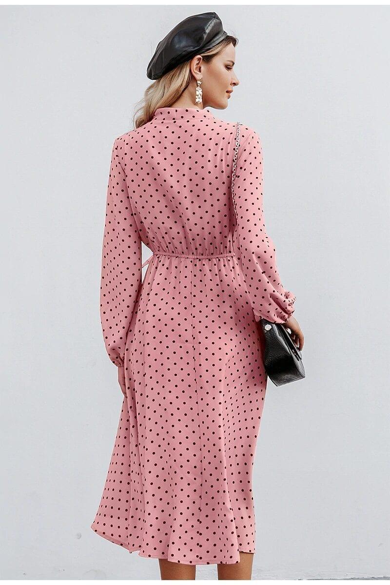 Elegant V-neck Polka Dot Bow Dress
