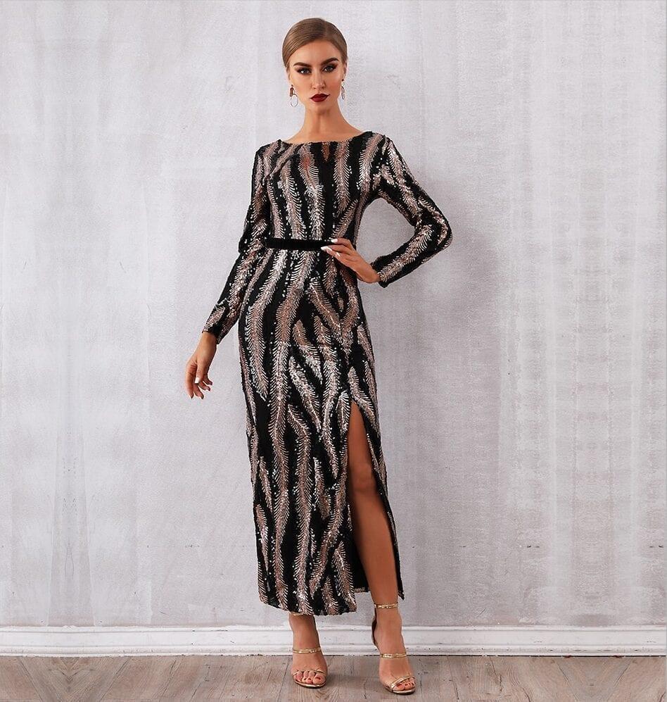 Elegant Sequin Long Sleeve Backless Dress