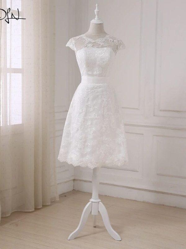 Elegant Lace A-line White Short Wedding Dress